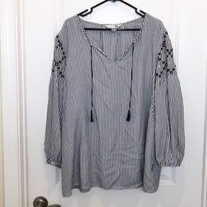Old Navy Blue White Stripe Tunic Shirt XL